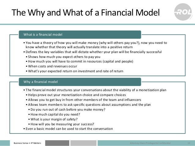 Business Sense • IP Matters The Why and What of a Financial Model •You have a theory of how you will make money (why will ...