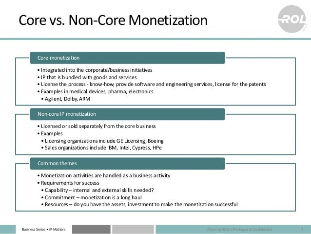 Business Sense • IP Matters Core vs. Non-Core Monetization • Integrated into the corporate/business initiatives • IP that ...