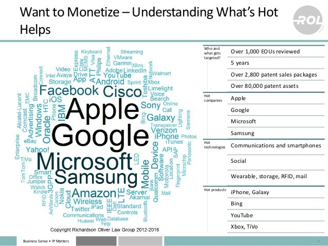 Business Sense • IP Matters Want to Monetize – Understanding What's Hot Helps 7 Who and what gets targeted? Over 1,000 EOU...