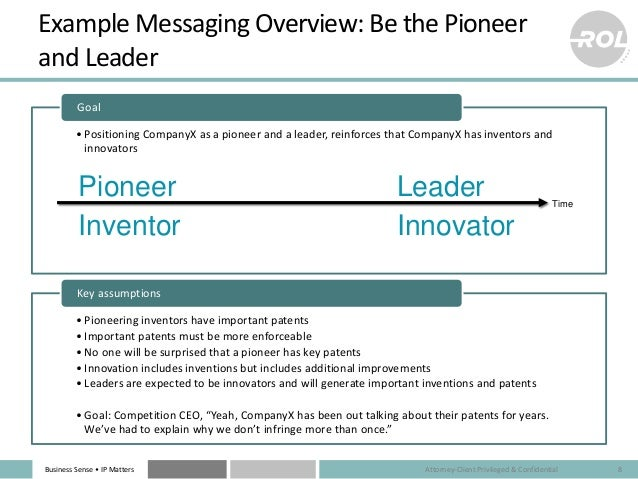 Business Sense • IP Matters Example Messaging Overview: Be the Pioneer and Leader •Positioning CompanyX as a pioneer and a...