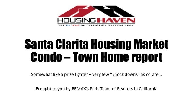 """Santa Clarita Housing Market Condo – Town Home report Somewhat like a prize fighter – very few """"knock downs"""" as of late… B..."""