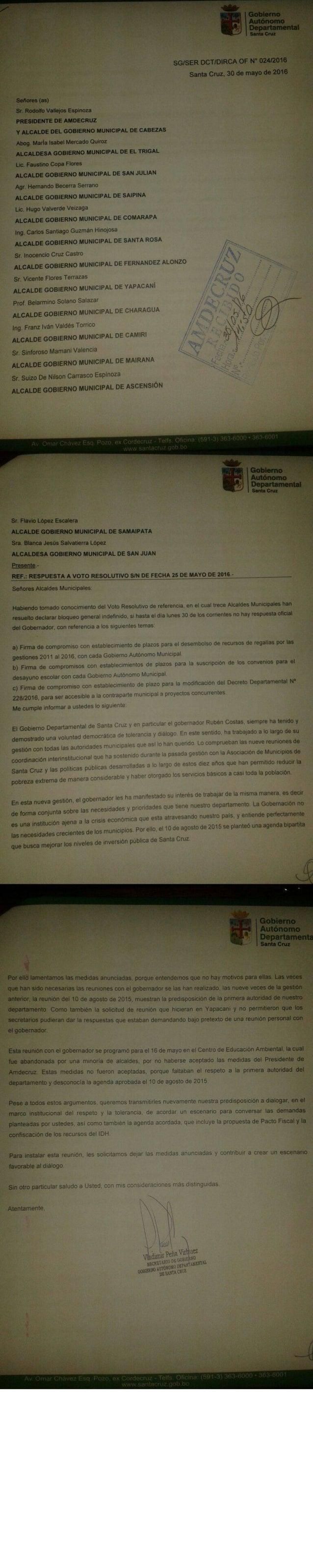 Respuesta de la Gobernación a Amdecruz