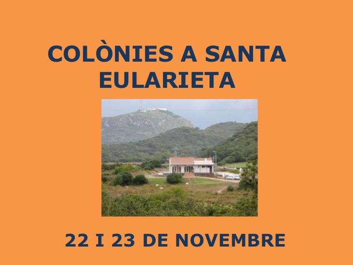 COLÒNIES A SANTA   EULARIETA 22 I 23 DE NOVEMBRE