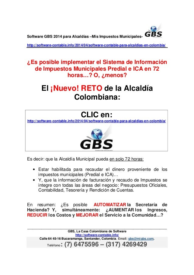 Software GBS 2014 para Alcaldías –Mis Impuestos Municipales- http://software-contable.info/2014/04/software-contable-para-...
