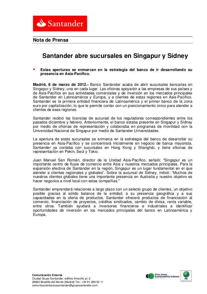 Santander abre sucursales en singapur y s dney for Sucursales banco santander valladolid