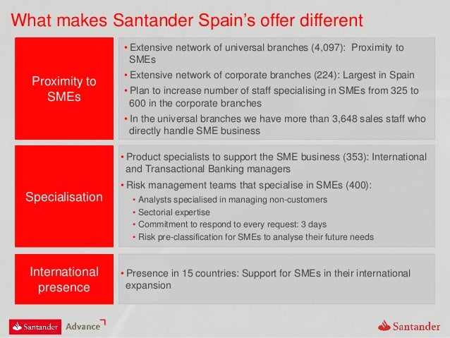 What makes Santander Spain's offer different Proximity to SMEs • Extensive network of universal branches (4,097): Proximit...