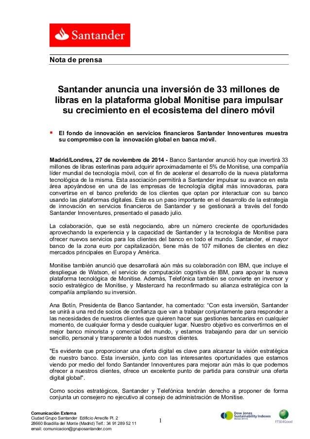 Santander anuncia una inversión de 33 millones de  libras en la plataforma global Monitise para impulsar  su crecimiento e...