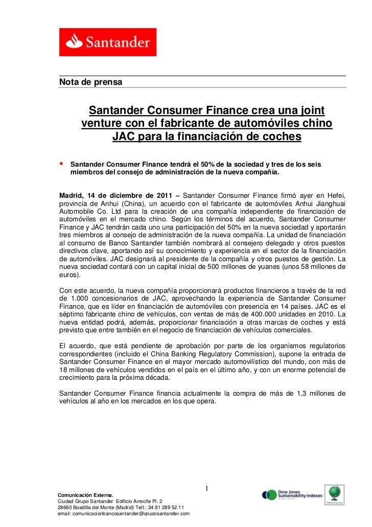 Nota de prensa          Santander Consumer Finance crea una joint         venture con el fabricante de automóviles chino  ...