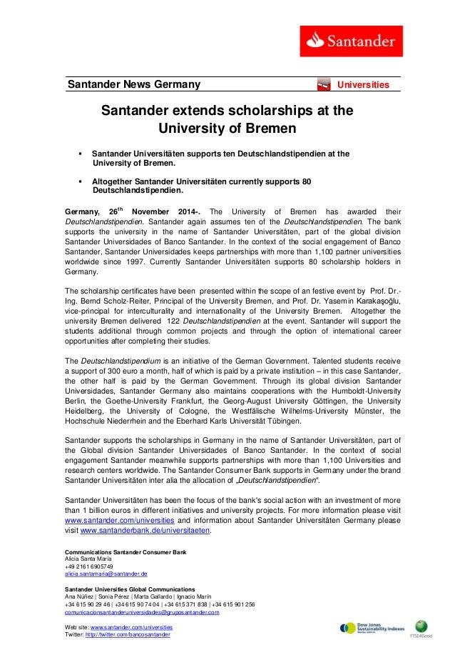 Communications Santander Consumer Bank  Alicia Santa María  +49 2161 6905749  alicia.santamaria@santander.de  Santander Un...
