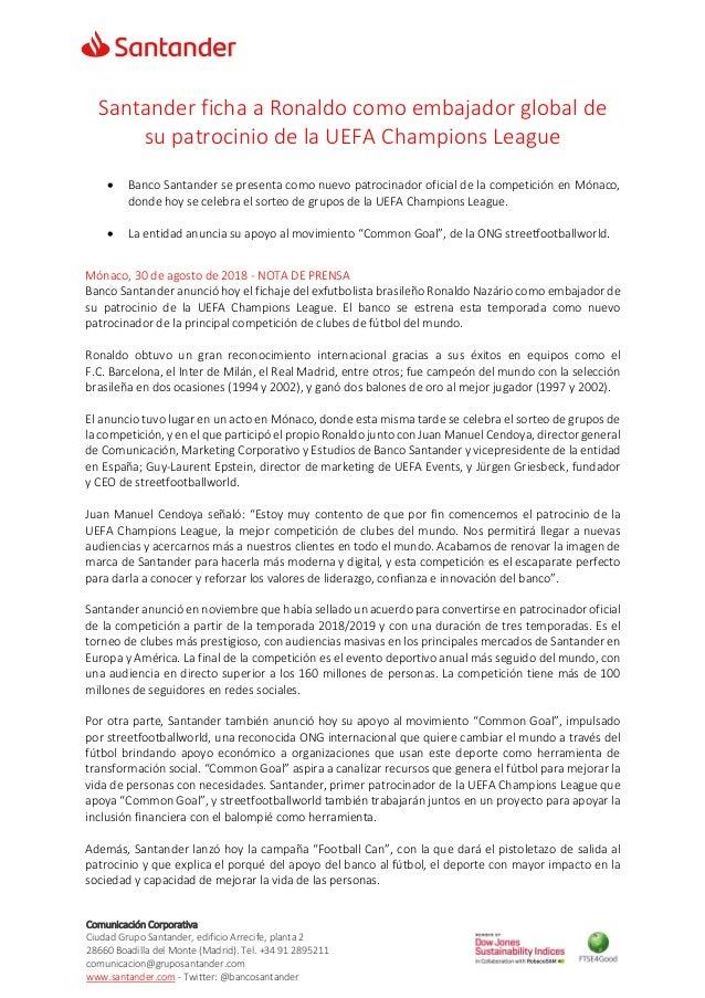 Comunicación Corporativa Ciudad Grupo Santander, edificio Arrecife, planta 2 28660 Boadilla del Monte (Madrid). Tel. +34 9...