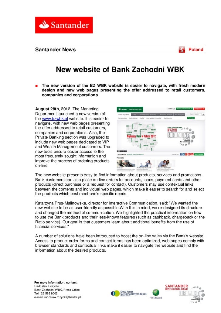 Santander News                                                                      Poland               New website of Ba...