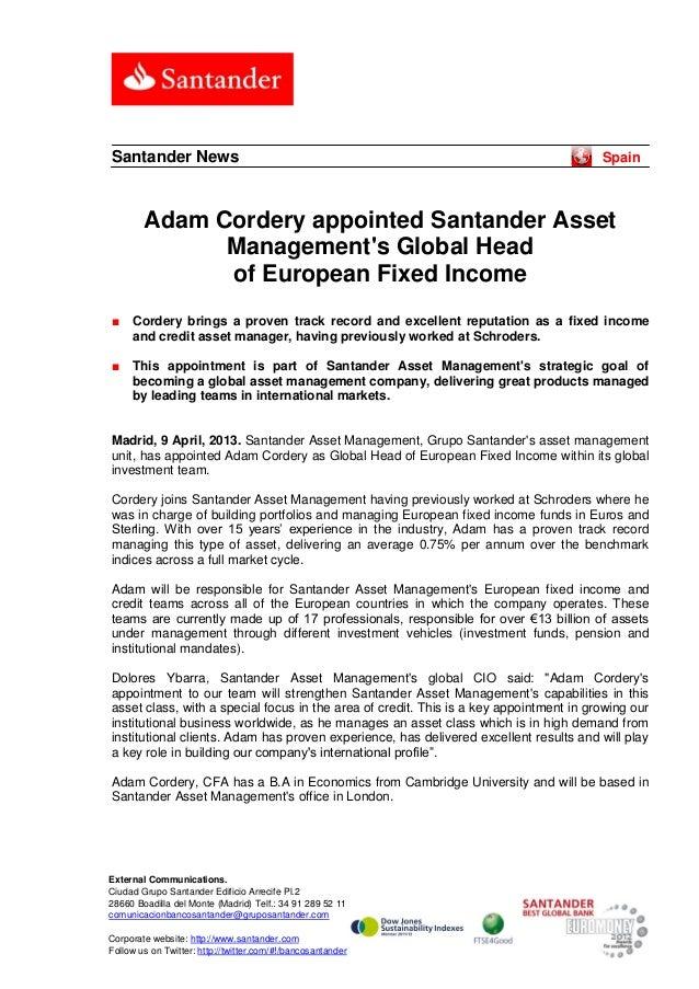 Santander News                                                                          Spain        Adam Cordery appointe...