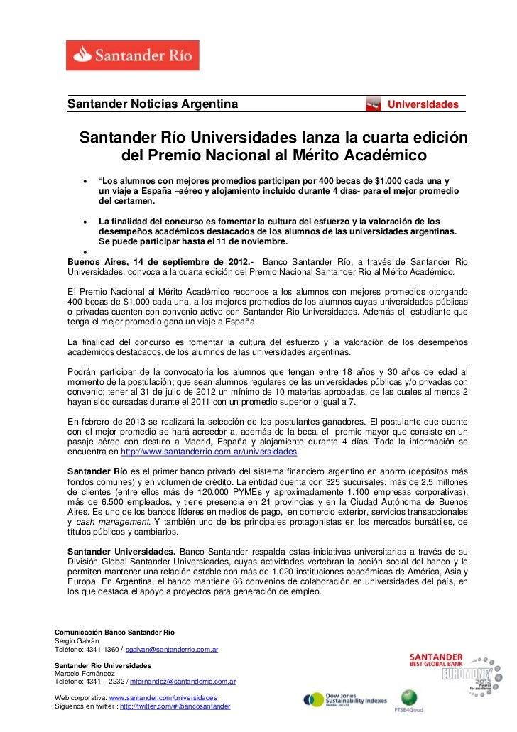 Santander Noticias Argentina                                                     Universidades        Santander Río Univer...