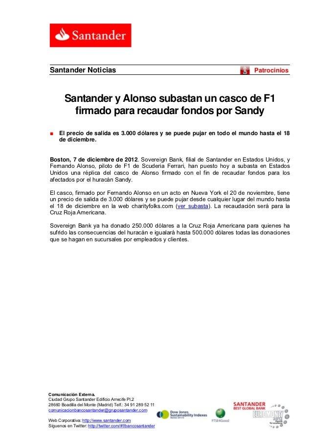 Santander Noticias                                                           Patrocinios        Santander y Alonso subasta...
