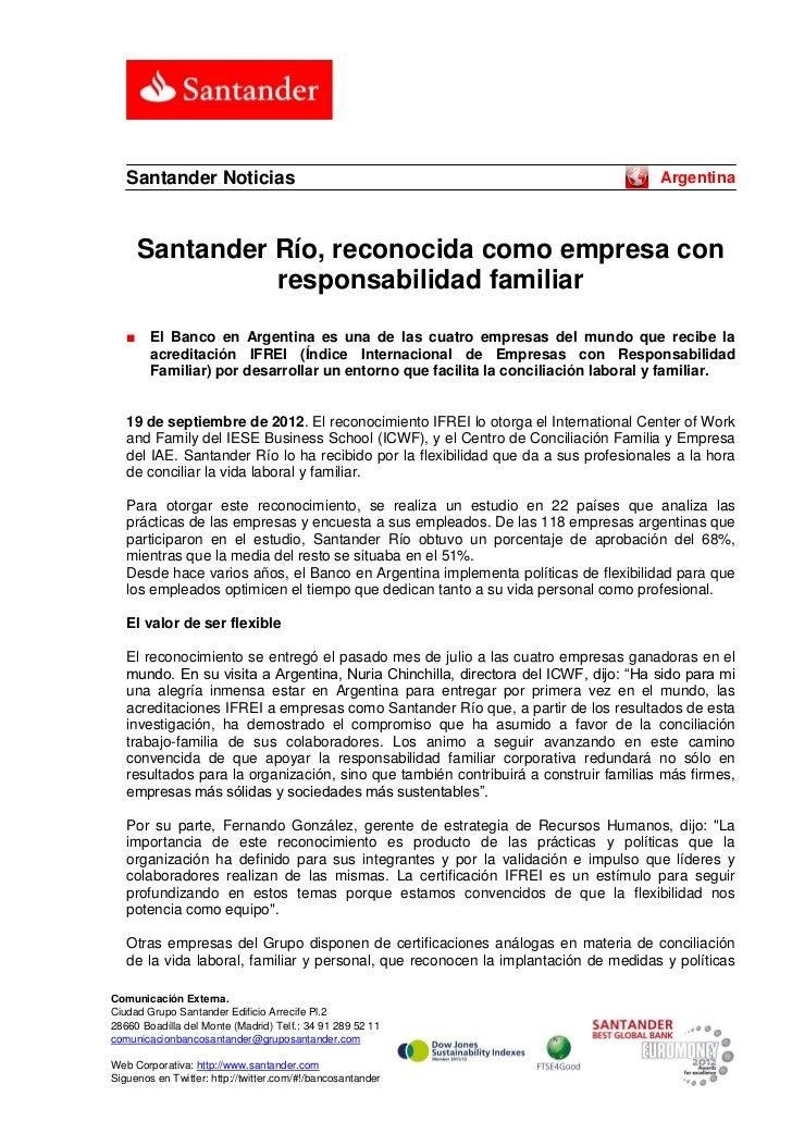 Santander Noticias                                                                Argentina       Santander Río, reconocid...