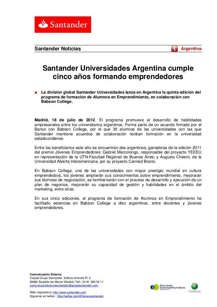 Santander Noticias                                                               Argentina          Santander Universidade...