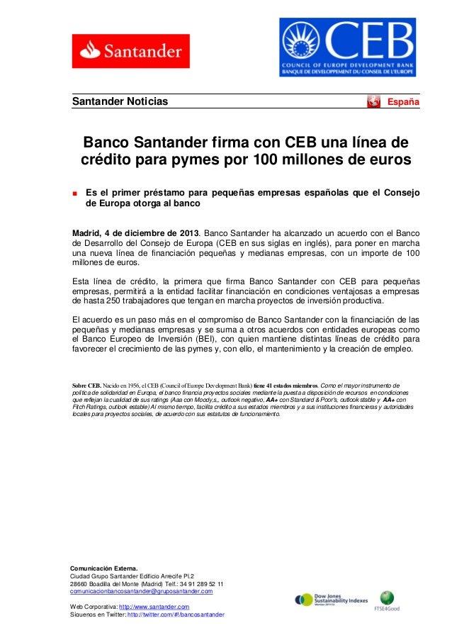 Santander Noticias  España  Banco Santander firma con CEB una línea de crédito para pymes por 100 millones de euros ■  Es ...