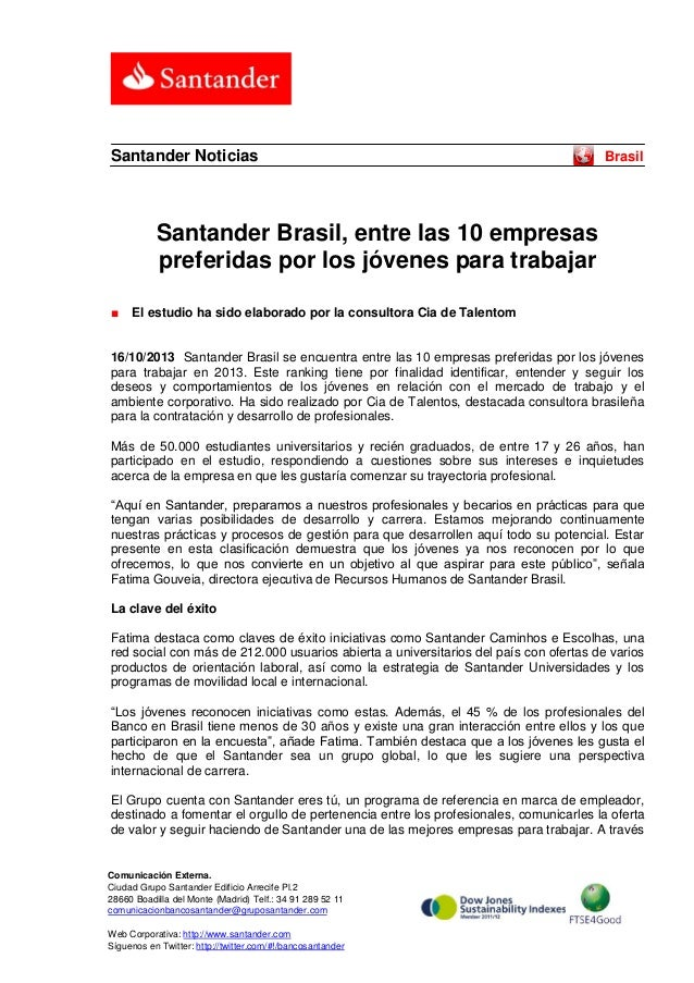 Santander Noticias  Brasil  Santander Brasil, entre las 10 empresas preferidas por los jóvenes para trabajar ■  El estudio...