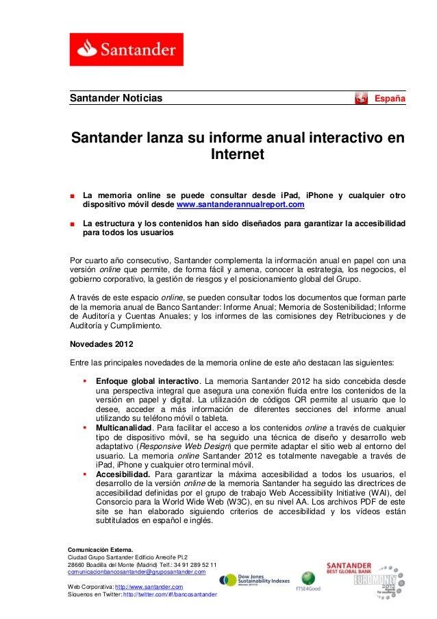 Santander Noticias                                                                      España Santander lanza su informe ...