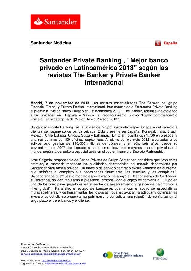 """Santander Noticias  España  Santander Private Banking , """"Mejor banco privado en Latinoamérica 2013"""" según las revistas The..."""