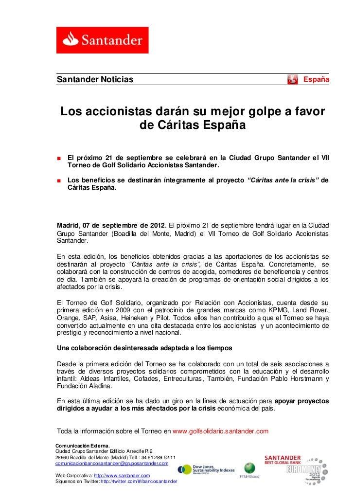Santander Noticias                                                                     España  Los accionistas darán su me...