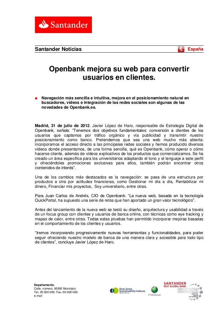 Santander Noticias                                                                    España           Openbank mejora su ...