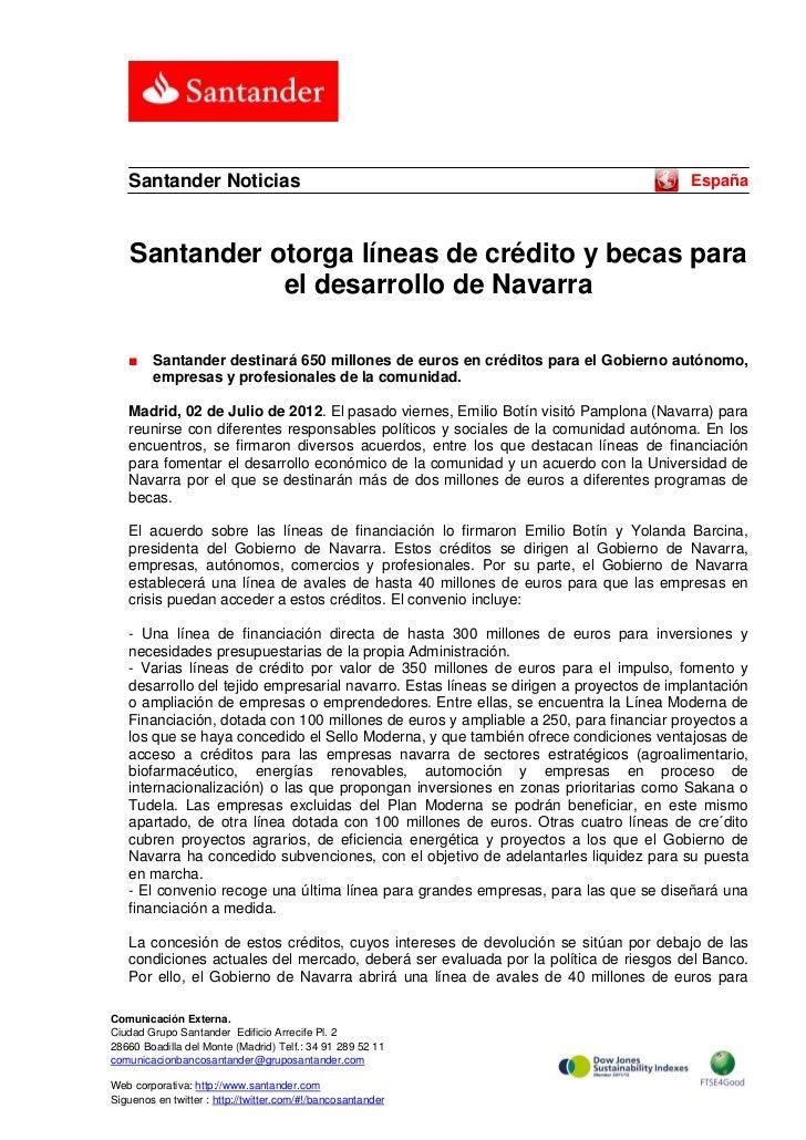 Santander Noticias                                                                   España    Santander otorga líneas de ...