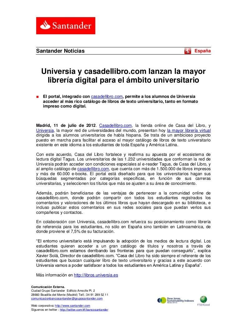 Santander Noticias                                                                   España       Universia y casadellibro...
