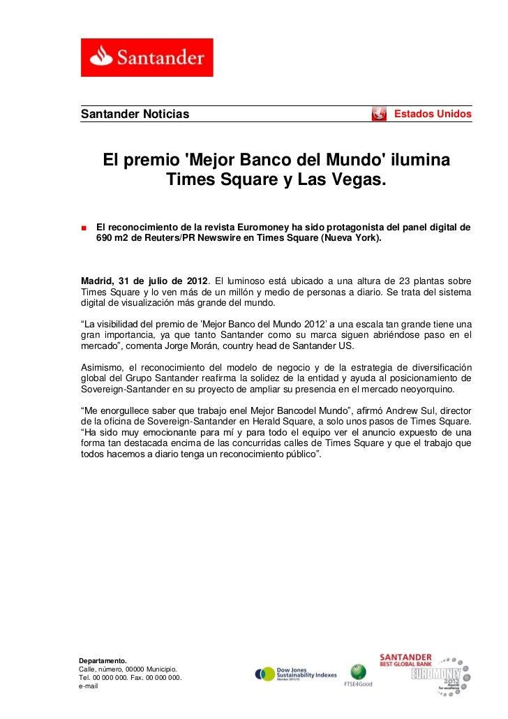Santander Noticias                                                       Estados Unidos       El premio Mejor Banco del Mu...