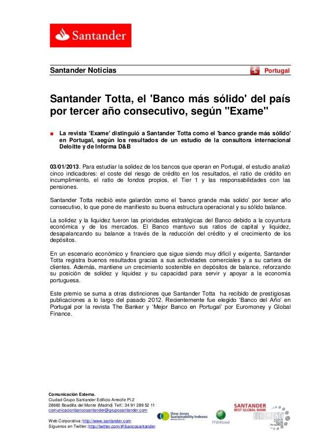 Santander Noticias                                                                PortugalSantander Totta, el Banco más só...