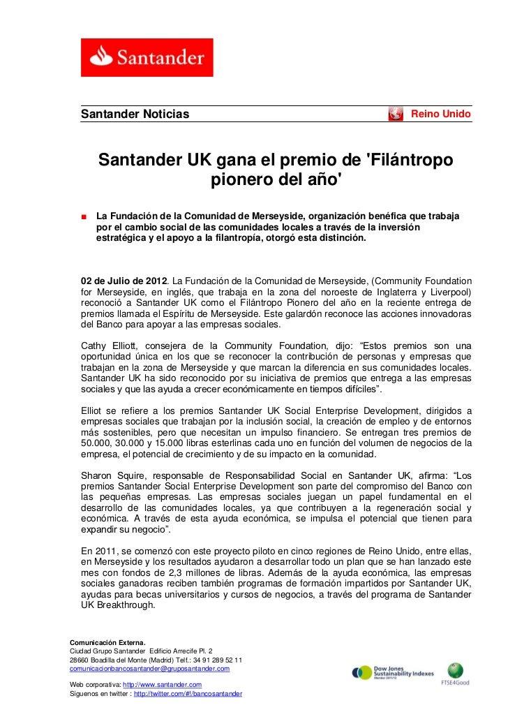 Santander Noticias                                                          Reino Unido         Santander UK gana el premi...