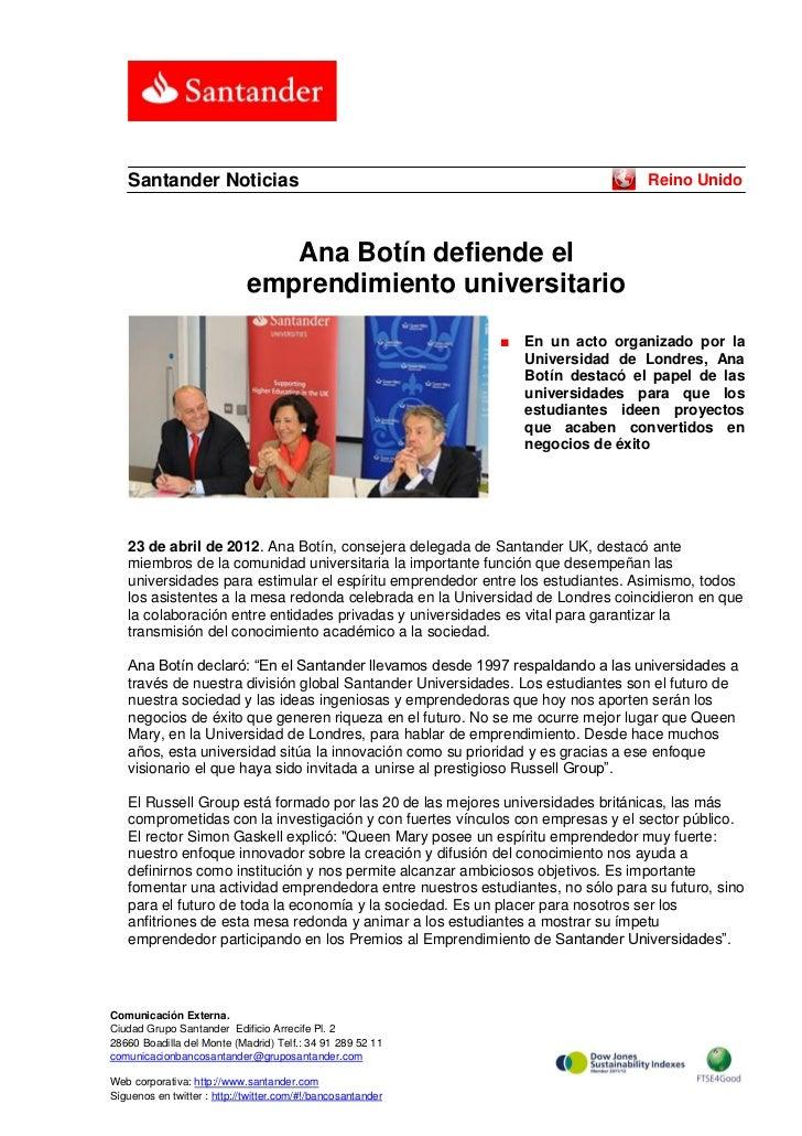 Santander Noticias                                                            Reino Unido                                A...