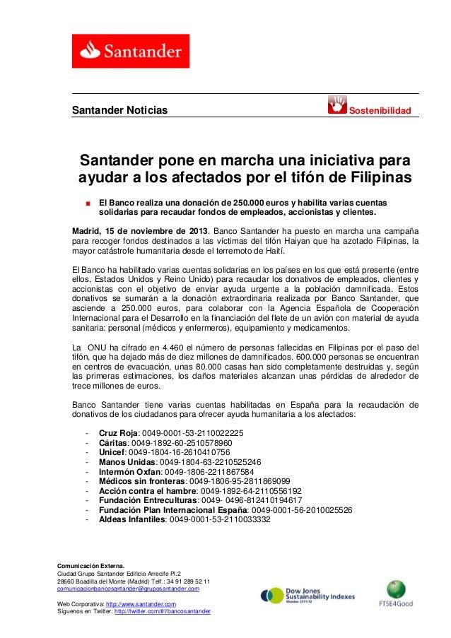 Santander Noticias  Sostenibilidad  Santander pone en marcha una iniciativa para ayudar a los afectados por el tifón de Fi...