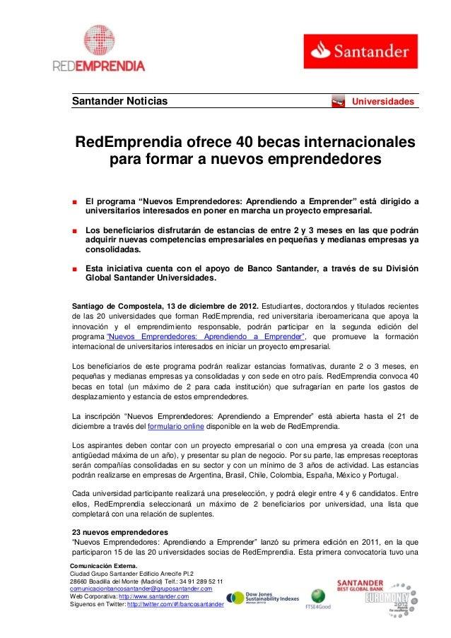 Santander Noticias                                                                Universidades RedEmprendia ofrece 40 bec...