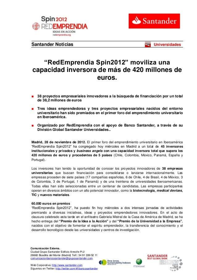 """Santander Noticias                                                                Universidades    """"RedEmprendia Spin2012""""..."""