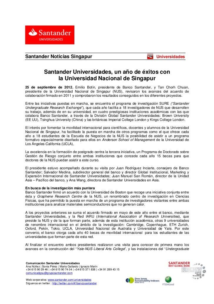 Santander Noticias Singapur                                                         Universidades                  Santan...