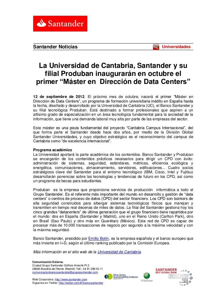 Santander Noticias                                                        Universidades   La Universidad de Cantabria, San...