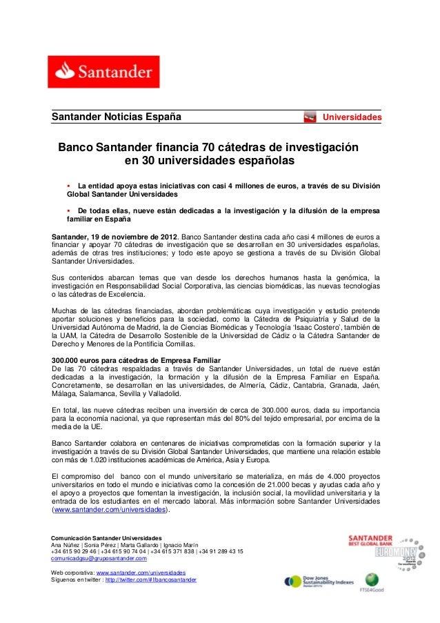 Santander Noticias España                                                            Universidades    Banco Santander fin...