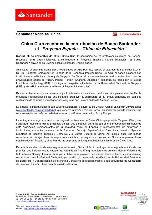 Santander Noticias China                                                                  Universidades     China Club rec...
