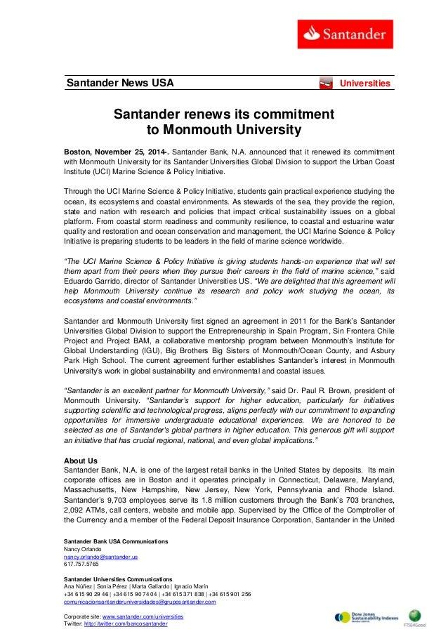 Santander Bank USA Communications  Nancy Orlando  nancy.orlando@santander.us  617.757.5765  Santander Universities Communi...
