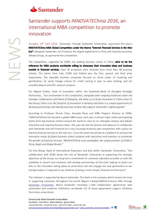 Comunicación Global Santander Universidades Ana Núñez - Sonia Pérez - Marta Gallardo - Ignacio Marín +34 615 90 29 46 | +3...