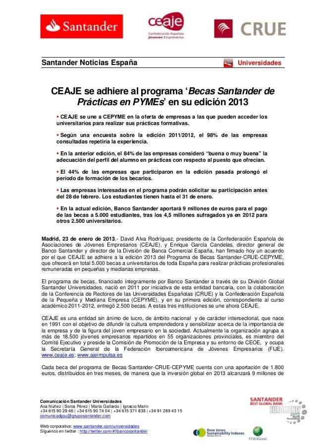 Santander Noticias España                                                          Universidades     CEAJE se adhiere al p...