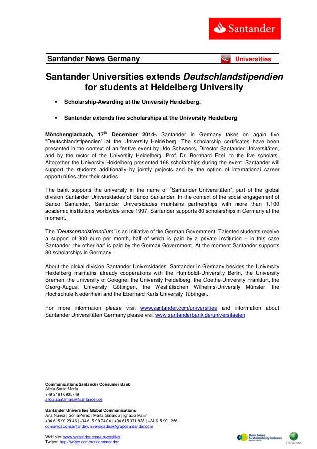 Communications Santander Consumer Bank Alicia Santa María +49 2161 6905749 alicia.santamaria@santander.de Santander Univer...