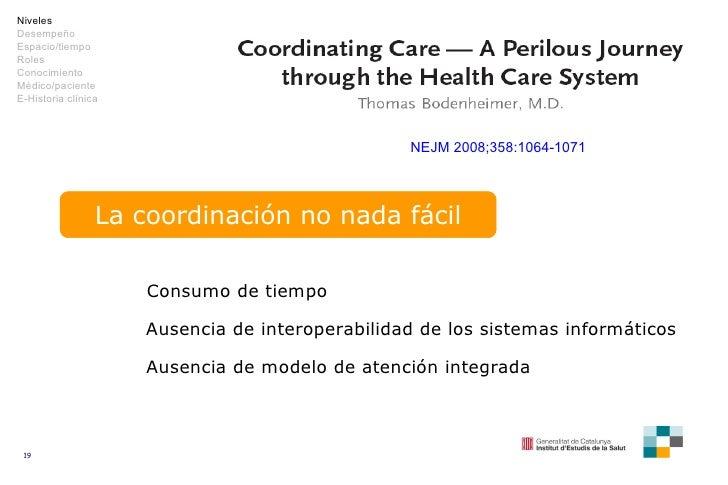 NEJM 2008;358:1064-1071 La coordinación no nada fácil Consumo de tiempo Ausencia de interoperabilidad de los sistemas info...