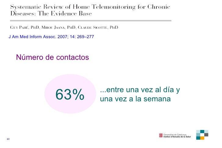 63% Número de contactos ...entre una vez al día y una vez a la semana J Am Med Inform Assoc. 2007; 14: 269–277