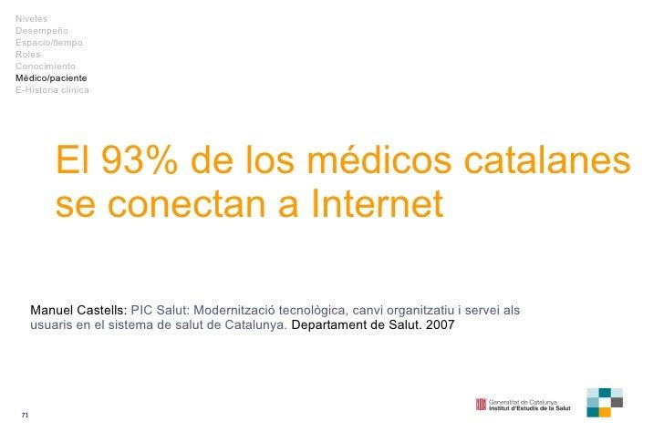 El 93% de los médicos catalanes se conectan a Internet Manuel Castells:  PIC Salut: Modernització tecnològica, canvi organ...