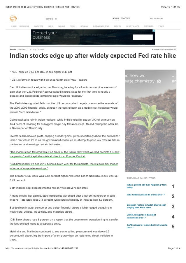 17/12/15, 4:24 PMIndian stocks edge up after widely expected Fed rate hike | Reuters Page 1 of 4http://in.reuters.com/arti...