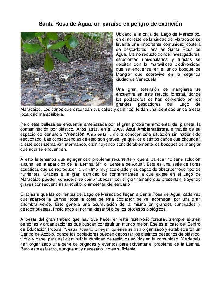 Santa Rosa de Agua, un paraíso en peligro de extinción                                                Ubicado a la orilla ...