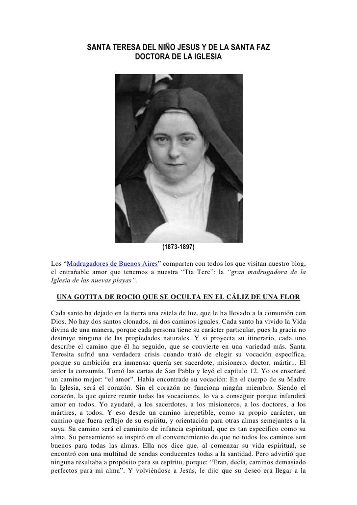 SANTA TERESA DEL NIÑO JESUS Y DE LA SANTA FAZ                        DOCTORA DE LA IGLESIA                                ...