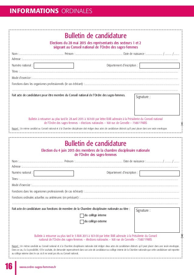 INFORMATIONS ORDINALES www.ordre-sages-femmes.fr16 ✂✂ Bulletin de candidature Elections du 28 mai 2015 des représentants d...